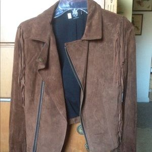 NWT Volcoms genuine suede leather jacket brown xs